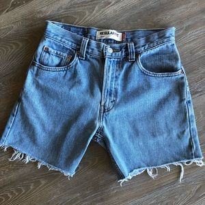Levi's 505 jean shorts with raw hem and high waist
